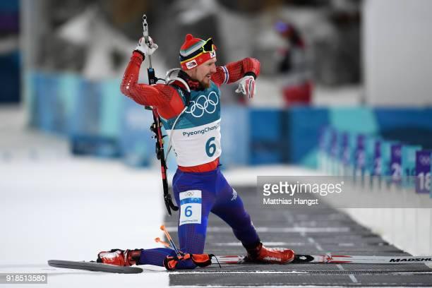 Timofei Lapshin of Korea prepares to shoot during the Men's 20km Individual Biathlon at Alpensia Biathlon Centre on February 15 2018 in...