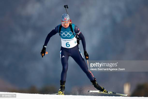 Timofei Lapshin of Korea wins the silver medal during the Biathlon Women's 15km Individual at Alpensia Biathlon Centre on February 15 2018 in...
