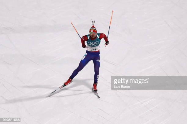 Timofei Lapshin of South Korea competes during the Men's 15km Mass Start Biathlon on day nine of the PyeongChang 2018 Winter Olympic Games at...