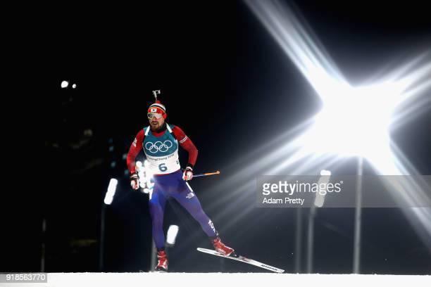 Timofei Lapshin of South Korea competes during the Men's 20km Individual Biathlon at Alpensia Biathlon Centre on February 15 2018 in Pyeongchanggun...