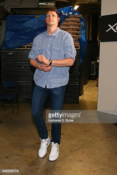 Timofey Mozgov of the Cleveland Cavaliers arrives before Game Five of the 2016 NBA Finals against the Golden State Warriors on June 13 2016 at ORACLE...