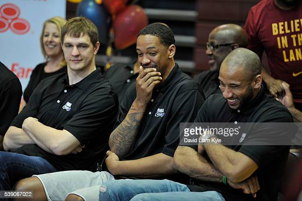 Timofey Mozgov of the Cleveland Cavaliers Channing Frye of the Cleveland Cavaliers and Dahntay Jones of the Cleveland Cavaliers attends the 2016 NBA...