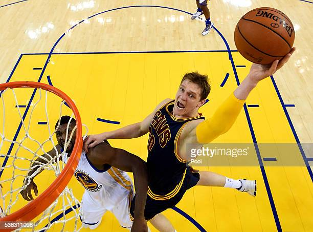 Timofey Mozgov of the Cleveland Cavaliers goes up for a shot against the Golden State Warriors in Game 2 of the 2016 NBA Finals at ORACLE Arena on...