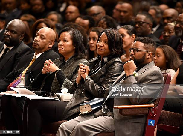 Timolin Cole Casey Cole and Robbie Yancy attend a Celebration Of Natalie Cole's Life at the West Angeles Church of God in Christ on January 11 2016...