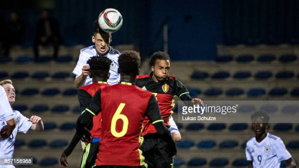 Timon Burmeister of Germany scores his teams first goal during the friendly match between Belgium U16 and Germany U16 on October 3 2017 in Genk...