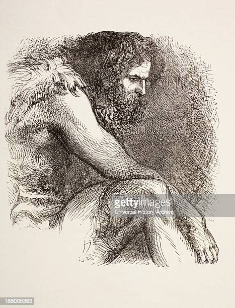 Timon In His Cave From Timon Of Athens By William Shakespeare Prehistoric Man Bearded And Dressed In Animal Skins From The Illustrated Library...