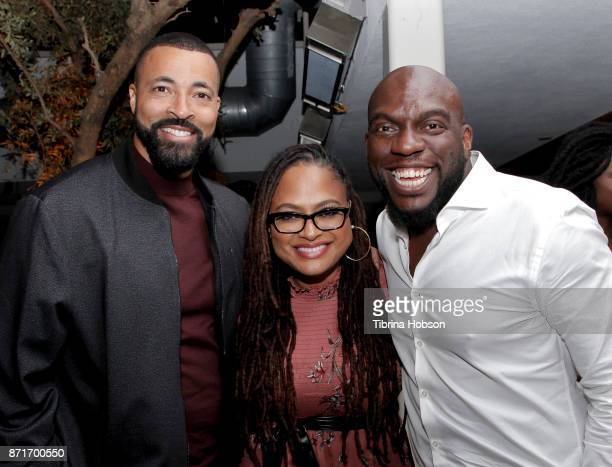 Timon Kyle Durrett Ava DuVernay and Omar Dorsey attend the taping of 'Queen Sugar AfterShow' after party on November 7 2017 in Los Angeles California