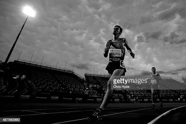 Timon Sideris competes in the Mens 800m Ambulant heats during the Australian Athletics Championships at the Queensland Sports and Athletics Centre on...