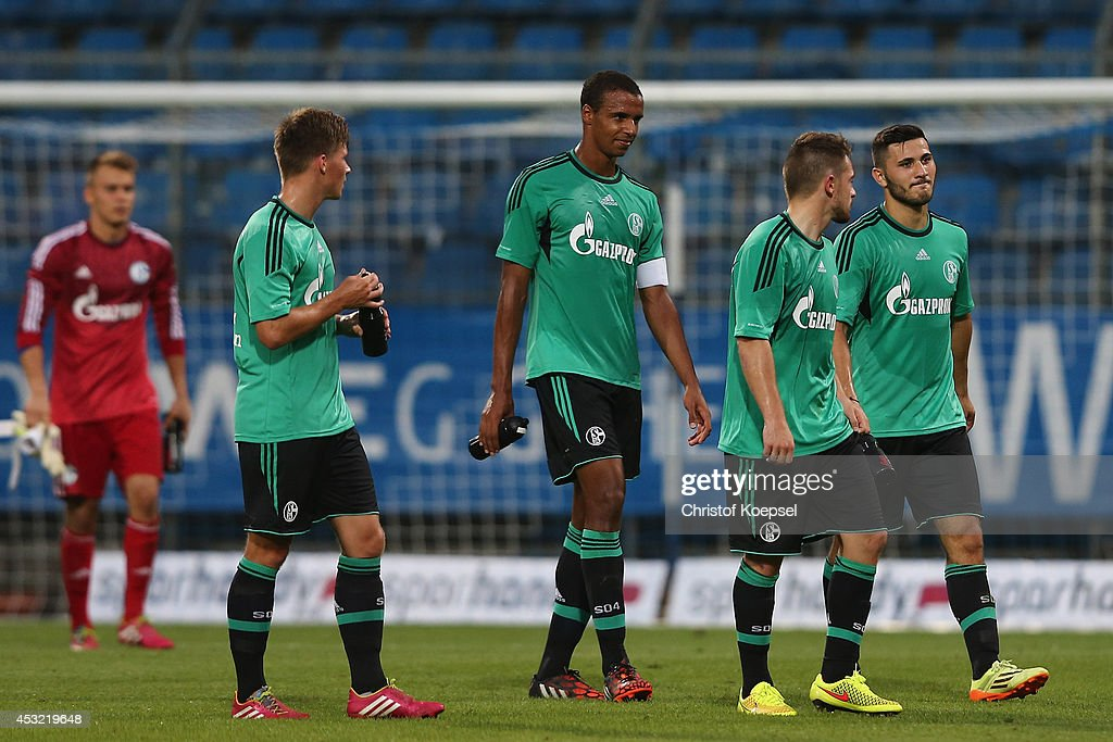 Timon Wellenreuther, Axel Borgmann, Joel Matip, Pascsal Itter and Sead Kolasinac of Schalke look dejected during the pre-season friendly match between VfL Bochum and FC Schalke 04 at Rewirpower Stadium on August 5, 2014 in Bochum, Germany.