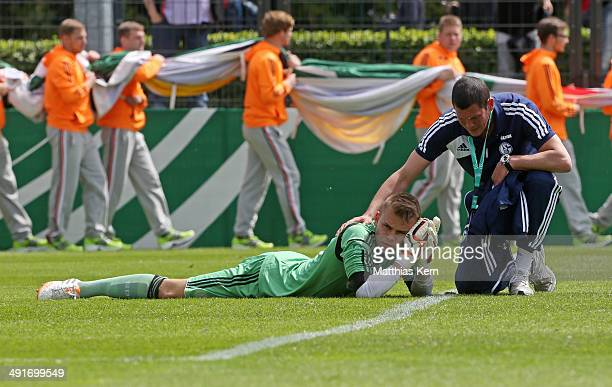 Timon Wellenreuther of Schalke shows his frustration after loosing the DFB Juniors Cup final match between SC Freiburg and FC Schalke 04 at Stadion...