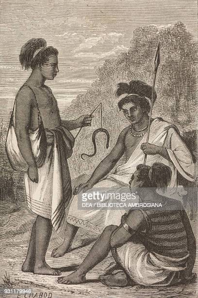 Timor island natives drawing by E Chabot from The Malay Archipelago 18611862 by Alfred Russell Wallace from Il Giro del mondo Journal of geography...
