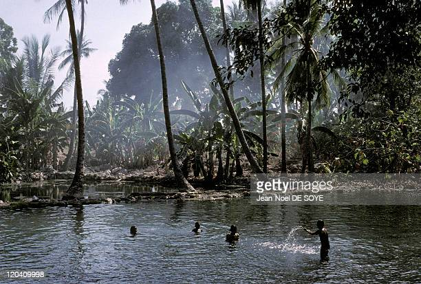 Timor Leste in December 2000 Children playing in a river in Irarra in the area around Los Palos An Indonesian province which gained independence in...
