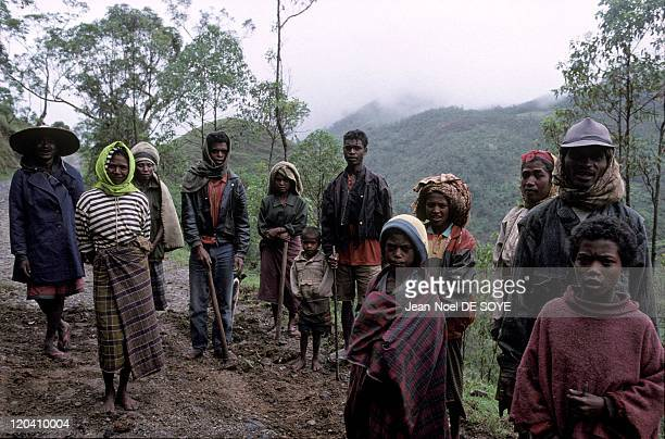 Timor Leste in December 2000 People from the village of Hata Bullico working on a mountain road damaged by the rains East Timor former Indonesian...