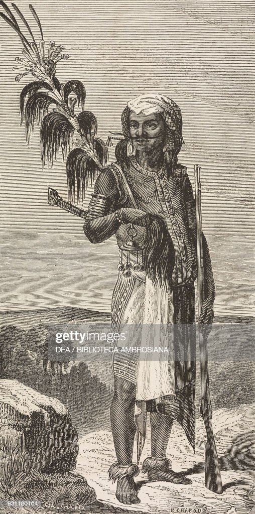 Timorese man wearing traditional costume, drawing : News Photo