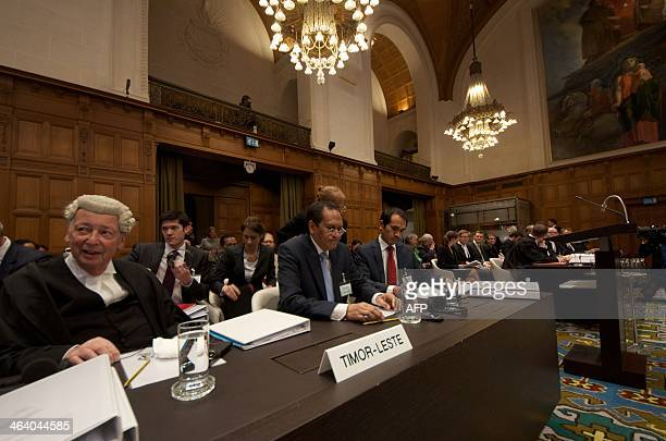 TimorLeste's Foreign Affairs minister Jose Luis Gutierrez attends an audience of the International Court of Justice in The Hague on January 20 2014...