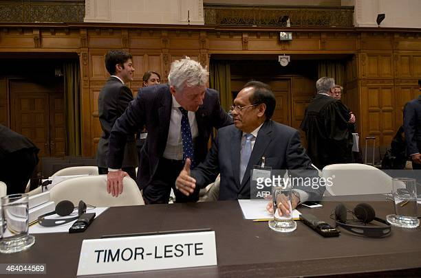 TimorLeste's Foreign Affairs minister Jose Luis Gutierrez speaks with Australian lawyer Bernard Collaery Bernard Collaery during an audience of the...