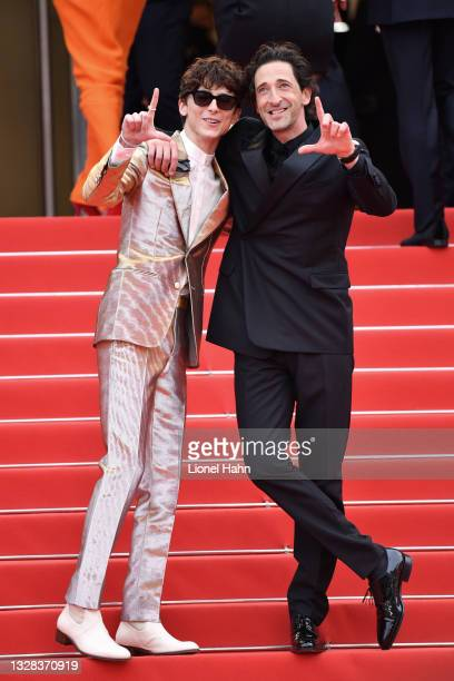 """Timothée Chalamet and Adrien Brody attend the """"The French Dispatch"""" screening during the 74th annual Cannes Film Festival on July 12, 2021 in Cannes,..."""