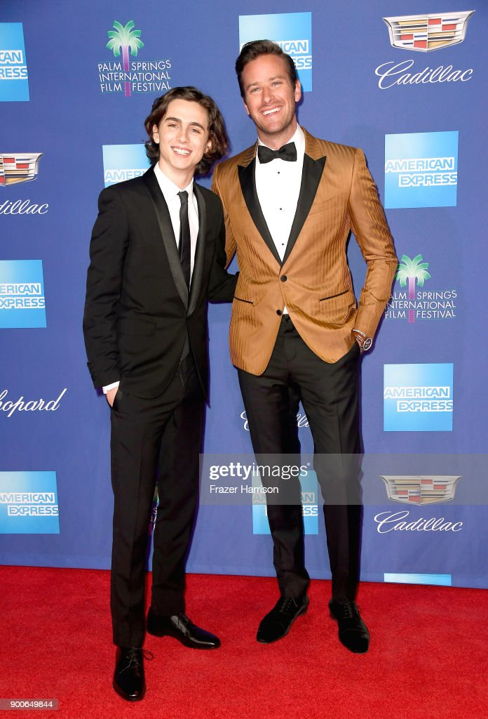 Timothée Chalamet (L) and Armie Hammer attend the 29th Annual Palm Springs International Film Festival Awards Gala at Palm Springs Convention Center on January 2, 2018 in Palm Springs, California.