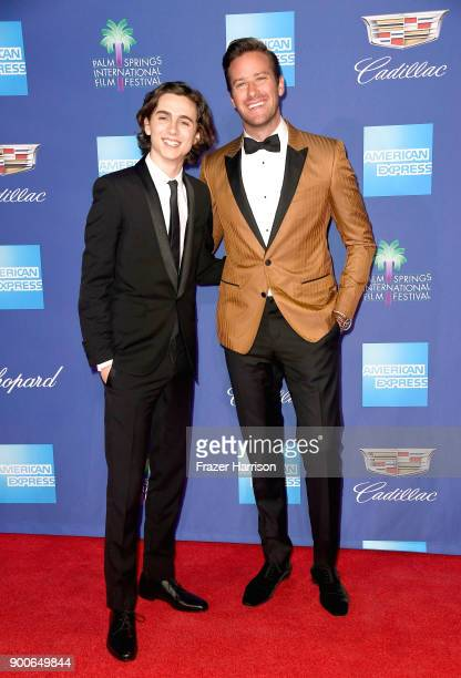 Timothée Chalamet and Armie Hammer attend the 29th Annual Palm Springs International Film Festival Awards Gala at Palm Springs Convention Center on...