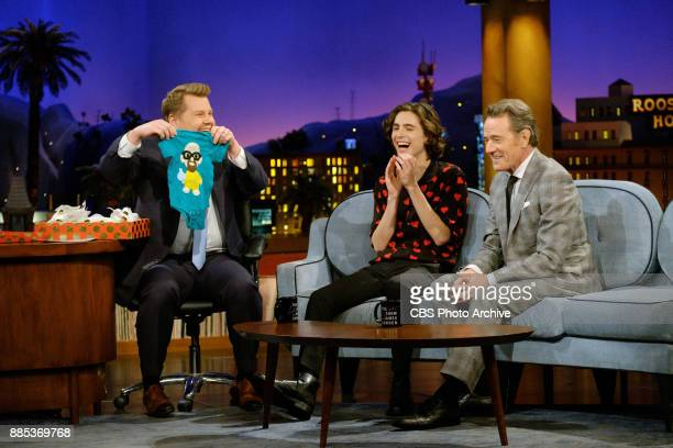 Timothée Chalamet and Bryan Cranston chat with James Corden during 'The Late Late Show with James Corden' Thursday November 30 2017 On The CBS...