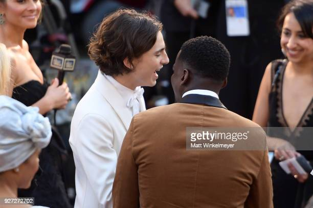 Timothée Chalamet and Daniel Kaluuya attend the 90th Annual Academy Awards at Hollywood Highland Center on March 4 2018 in Hollywood California