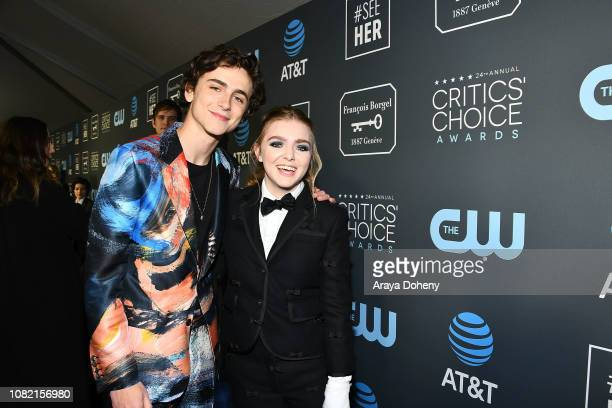 TimothŽe Chalamet and Elsie Fisher at Claire Foy Accepts The #SeeHer Award At The 24th Annual Critics' Choice Awards The Barker Hanger on January 13...
