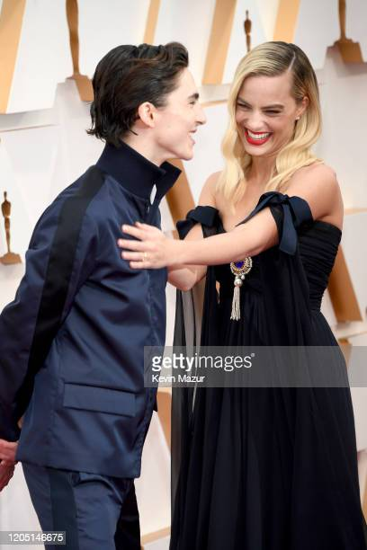 Timothée Chalamet and Margot Robbie attend the 92nd Annual Academy Awards at Hollywood and Highland on February 09 2020 in Hollywood California