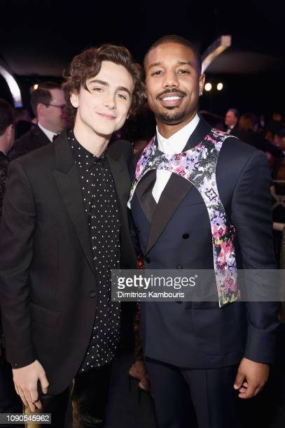 Timothée Chalamet and Michael B. Jordan during the 25th Annual Screen ActorsGuild Awards at The Shrine Auditorium on January 27, 2019 in Los...