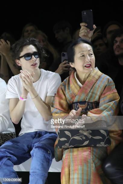 Timothée Chalamet and Setsuko Klossowska de Rola attend the Haider Ackermann show as part of the Paris Fashion Week Womenswear Fall/Winter 2020/2021...