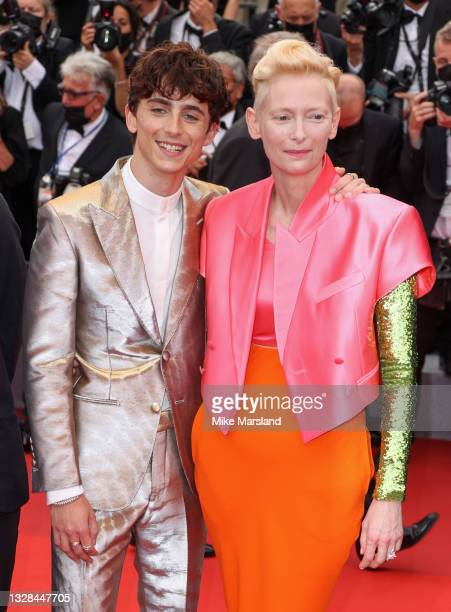"""Timothée Chalamet and Tilda Swinton attend the """"The French Dispatch"""" screening during the 74th annual Cannes Film Festival on July 12, 2021 in..."""