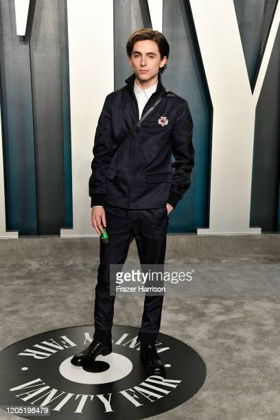 Timothée Chalamet attends the 2020 Vanity Fair Oscar Party hosted by Radhika Jones at Wallis Annenberg Center for the Performing Arts on February 09,...