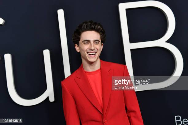 Timothée Chalamet attends the Amazon Studios of Angeles premiere of Beautiful Boy at Samuel Goldwyn Theater on October 08 2018 in Beverly Hills...