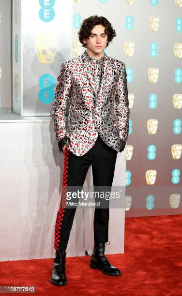 Timothée Chalamet attends the EE British Academy Film Awards at Royal Albert Hall on February 10 2019 in London England
