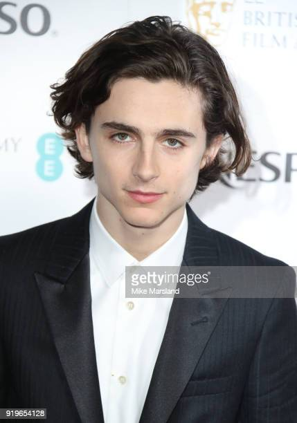 TimothŽe Chalamet attends the EE British Academy Film Awards nominees party at Kensington Palace on February 17 2018 in London England
