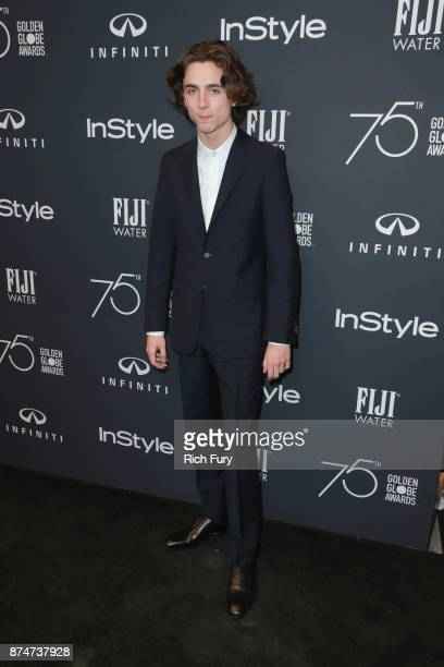 Timothée Chalamet attends the Hollywood Foreign Press Association and InStyle celebrate the 75th Anniversary of The Golden Globe Awards at Catch LA...
