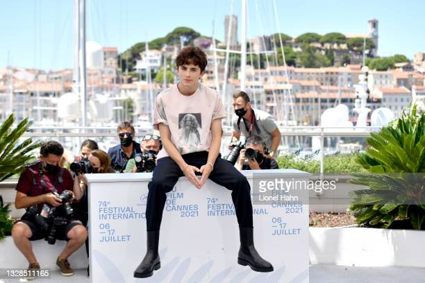 """Timothée Chalamet attends the """"The French Dispatch"""" photocall during the 74th annual Cannes Film Festival on July 13, 2021 in Cannes, France."""
