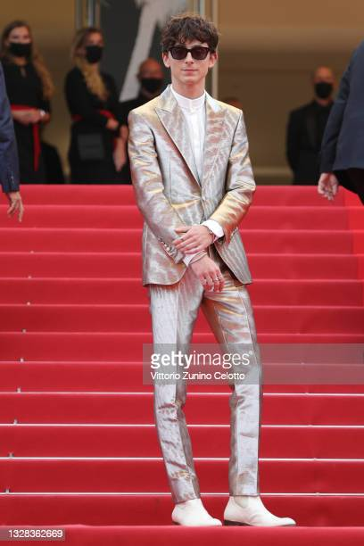 """Timothée Chalamet attends the """"The French Dispatch"""" screening during the 74th annual Cannes Film Festival on July 12, 2021 in Cannes, France."""