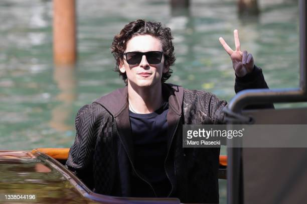 Timothée Chalamet is seen arriving at the 78th Venice International Film Festival on September 03, 2021 in Venice, Italy.