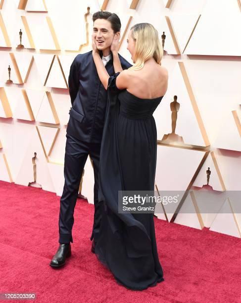 Timothée Chalamet Margot Robbie arrives at the 92nd Annual Academy Awards at Hollywood and Highland on February 09 2020 in Hollywood California
