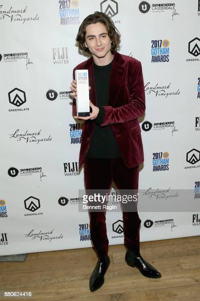 Timothée Chalamet poses with his Breakthrough Actor award at the 2017 Gotham Awards sponsored by Greater Ft Lauderdale Tourism at Cipriani Wall...