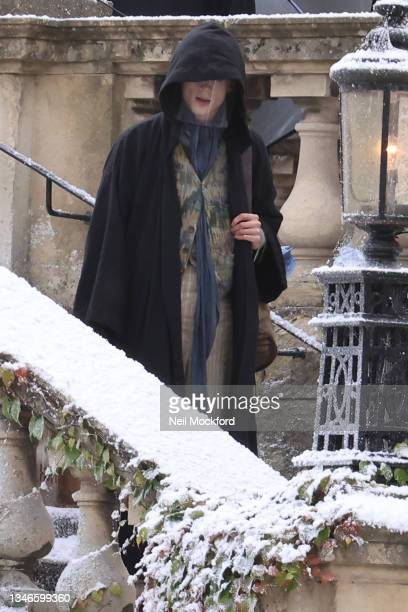 Timothée Chalamet seen filming the new Willy Wonka movie on October 14, 2021 in Bath, England.