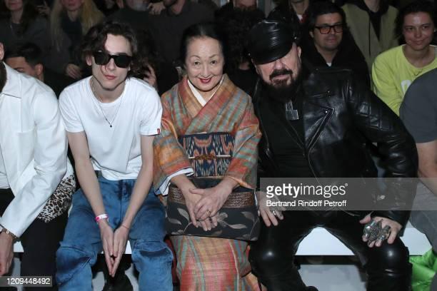 Timothée Chalamet Setsuko Klossowska de Rola and Peter Marino attend the Haider Ackermann show as part of the Paris Fashion Week Womenswear...