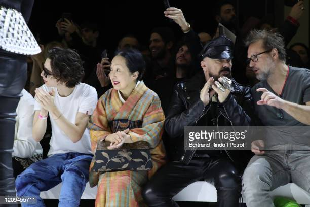 Timothée Chalamet Setsuko Klossowska de Rola Peter Marino and Juergen Teller attend the Haider Ackermann show as part of the Paris Fashion Week...