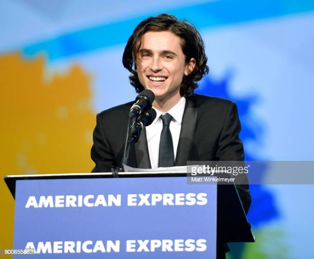 Timothée Chalamet speaks onstage at the 29th Annual Palm Springs International Film Festival Awards Gala at Palm Springs Convention Center on January...