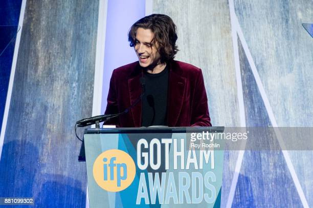 Timothe Chalamet speaks onstage during IFP's 27th Annual Gotham Independent Film Awards at Cipriani Wall Street on November 27 2017 in New York City