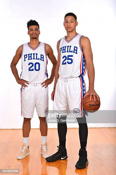 Timothe Luwawu and Ben Simmons of the Philadelphia 76ers pose for a portrait at the Philadelphia College of Osteopathic Medicine on June 24 2015 in...