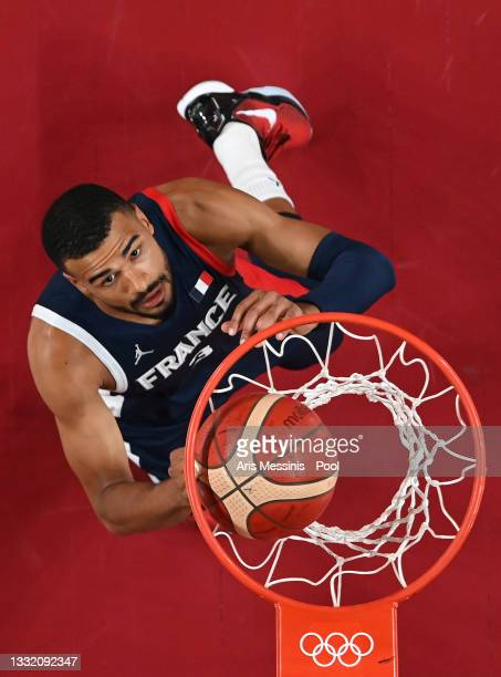 Timothe Luwawu Kongbo of Team France watches the ball go into the basket against Italy during the first half of a Men's Basketball Quarterfinal game...