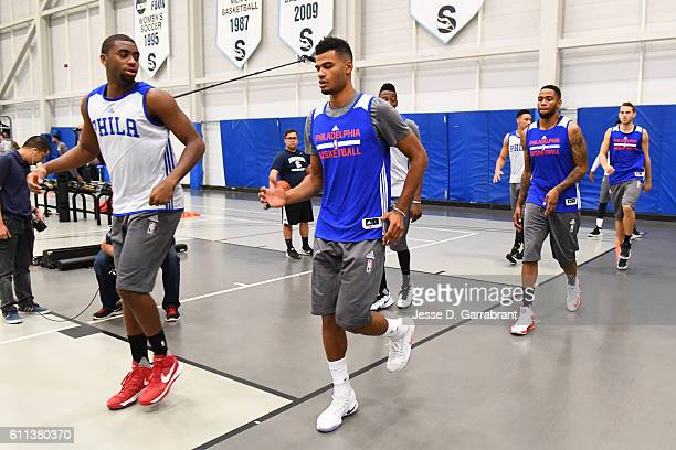 Timothe Luwawu of the Philadelphia 76ers stretches and warms up before practice at Stockton University on September 27 2016 in Camden New Jersey NOTE...