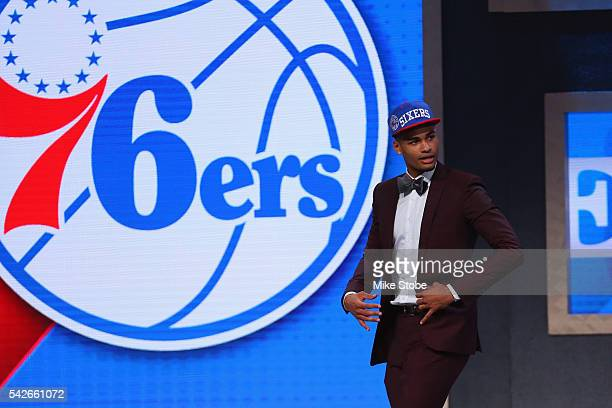 Timothe LuwawuCabarrot celebrates on stage after being drafted 24th overall by the Philadelphia 76ers in the first round of the 2016 NBA Draft at the...