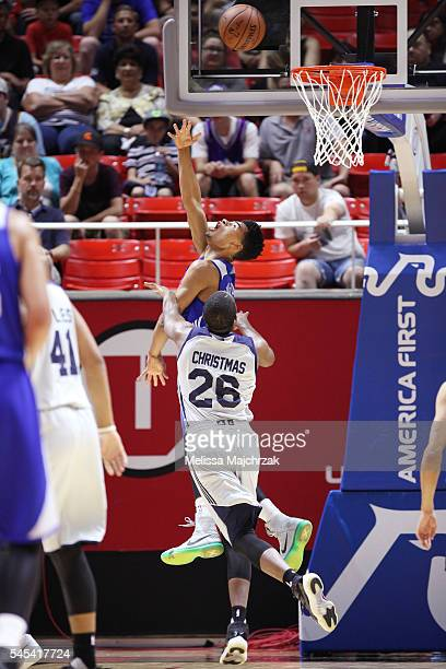 Timothe LuwawuCabarrot of Philadelphia 76ers shoots a lay up against the Utah Jazz on July 7 2016 during the 2016 Utah Summer League at...